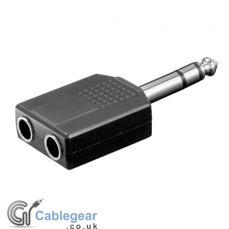 6.35mm Stereo Plug to 2 x 6.35mm Stereo socket Adapter