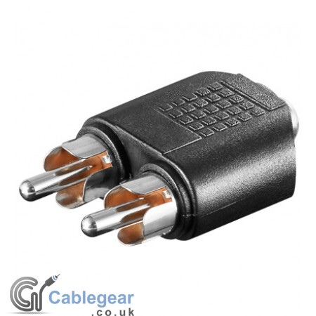 2 x RCA Plug to 3.5 mm Stereo socket Adapter