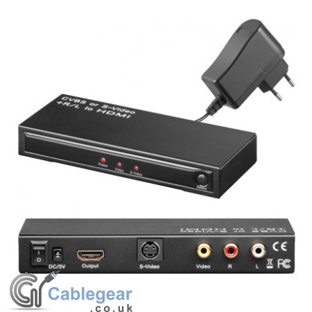 Composite Video or S-Video + Audio to HDMI Scaler