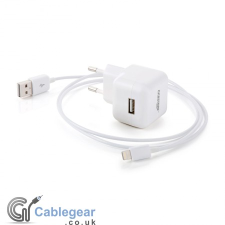 High Power Mains Charging  & Sync Cable for iPod/iPhone (2.1A) Lightning Connector