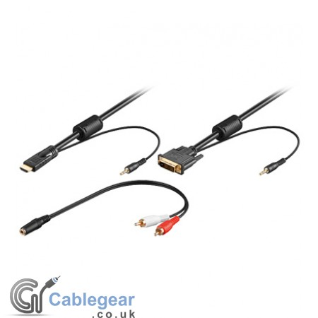DVI cable to HDMI cable with 3.5mm Stereo Audio cable