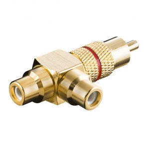 RCA T-Adapter (Gold plated) - Red