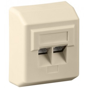 Surface mounted CAT 5e wall plate 2 x RJ45 beige
