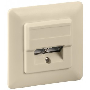 Flush mounting CAT 5e wall plate 2 x RJ45 beige