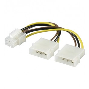 PCI Express 6 pin to 2 x 5.25 (M) power cable