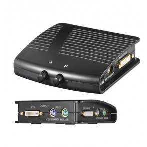 Manual DVI/KVM switch box 2 IN / 1 OUT