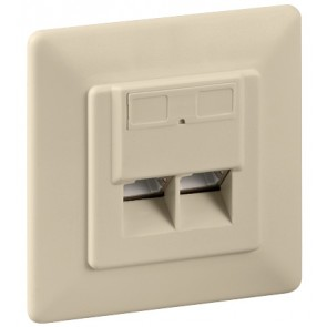 Flush mounting CAT 6 wall plate 2 x RJ45
