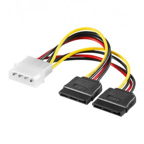 4 pin 5.25 to 2 x SATA power adapter cable