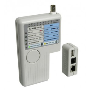 RJ-11/12/45 Cable Tester for CAT/USB/BNC