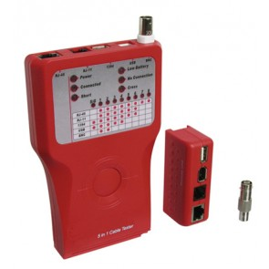 RJ-11/12/45 Cable Tester for CAT/USB/IEEE1394/BNC