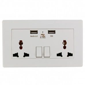 Universal Wall Socket with Dual USB 2100mA Charger